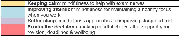 Image outlining the topics available for the Mindfulness exam sessions; Keeping calm, improving attention, better sleep, and productive decisions
